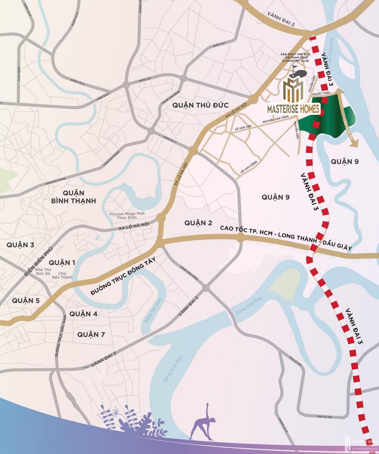 Vị trí địa chỉ dự án căn hộ Masterise Marina Central quận 9